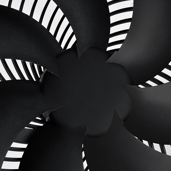 Closeup view of fan motor hub