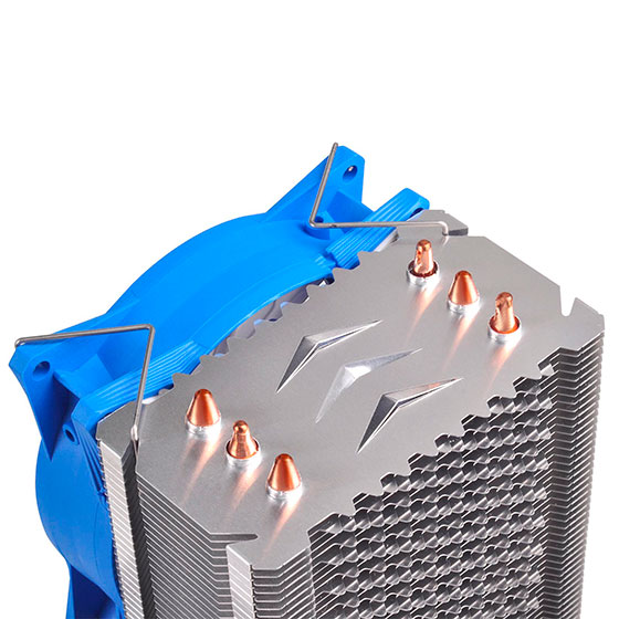 Exclusive arrow guides distribute airflow evenly among heat pipes