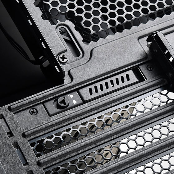 "Utilizes expansion card slot to add a removable 2.5"" SATA hard drive bay"