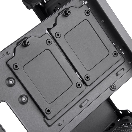 "2.5"" SSD mounting bracket behind motherboard tray"