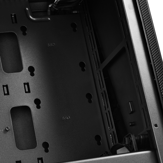 Front fan mounts and motherboard tray SSD mounts