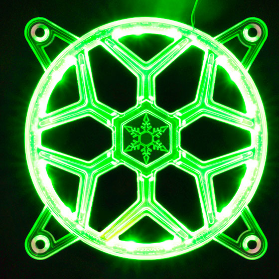 Displays any color by use of a RGB LED control box or capable motherboard (Green)