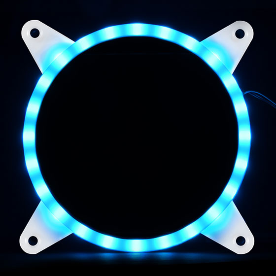 Displays any color by use of an addressable RGB LED control box or capable motherboard (Blue)