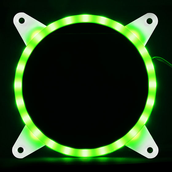 Displays any color by use of an addressable RGB LED control box or capable motherboard (Green)