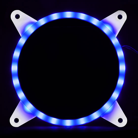 Displays any color by use of an addressable RGB LED control box or capable motherboard (Indigo)