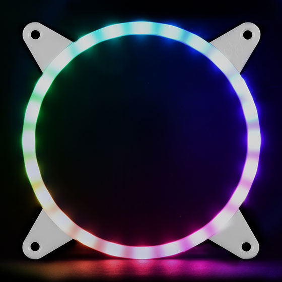 Displays any color by use of an addressable RGB LED control box or capable motherboard (Rainbow)