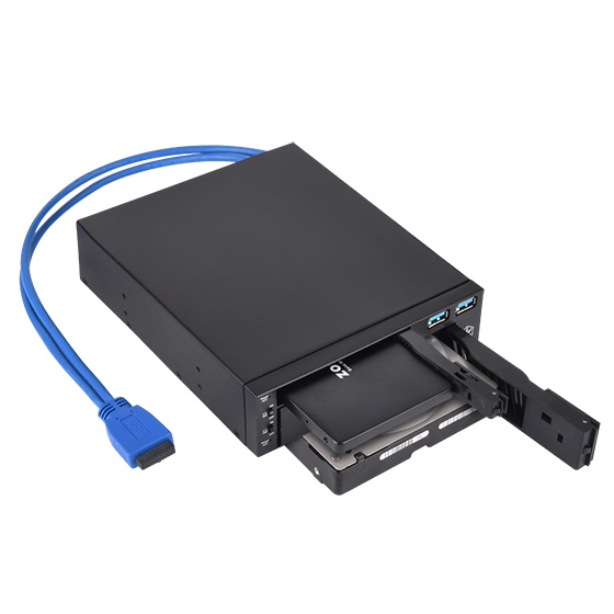 "Tray-less and hot-swap function for 3.5"" / 2.5"" SATA drive"