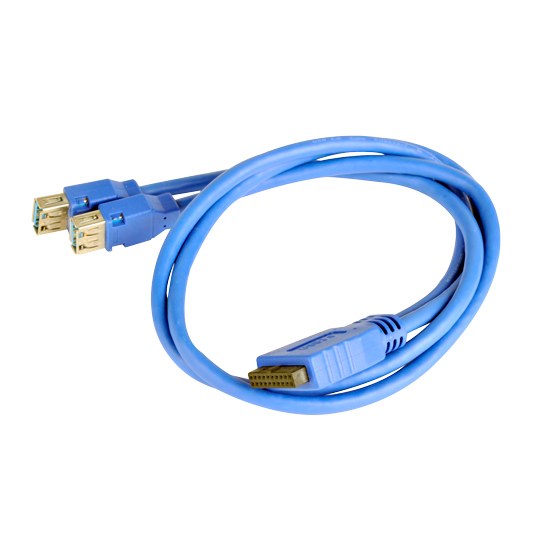 Two USB 3.1 Gen 1 Type-A female to 19 pin connector male cable (cable length is 500mm excluding connectors)