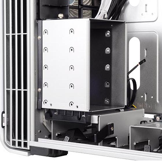 Removable 3.5-inch hard drive cage for up to five drives