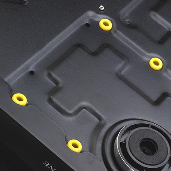 Hard drive bracket with rubber padding