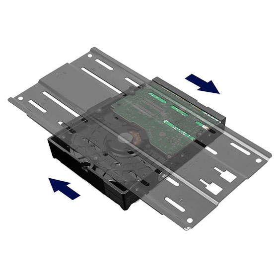 "Drive bracket with 3.5"" HDD installed (mounting placement can be adjusted based on your internal configuration)"