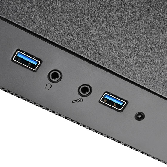 Front I/O port includes: USB 3.0 Type-A  x 2,Audio x 1, MIC x 1