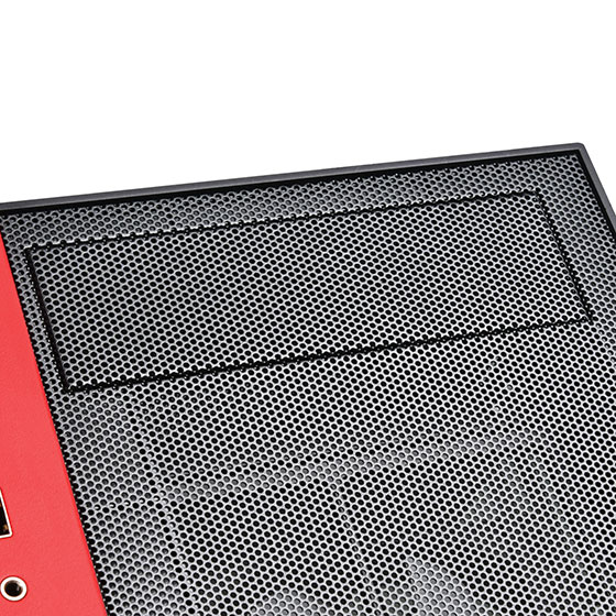 "5.25"" drive bay with mesh cover"