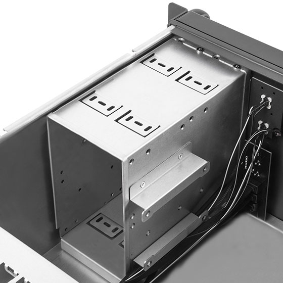 "Two 5.25"" drive bays directly compatible with 3.5"" or 2.5"" drives"