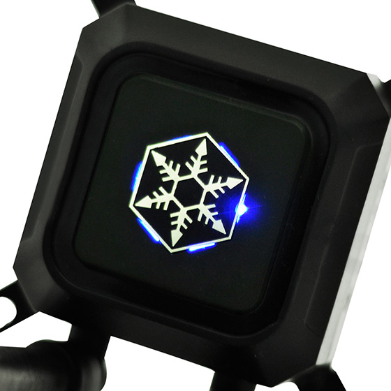 Integrated blue LED indicator