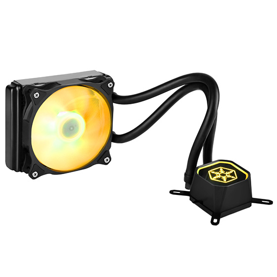 Displays any color by use of a RGB LED control box or capable motherboard (yellow)