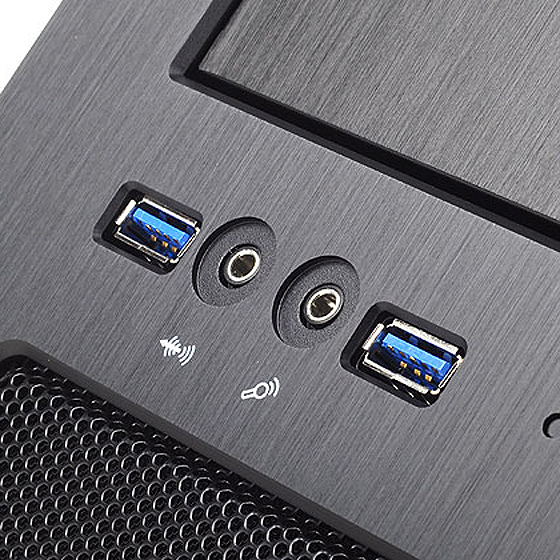 Front I/O ports with USB 3.0, audio and MIC