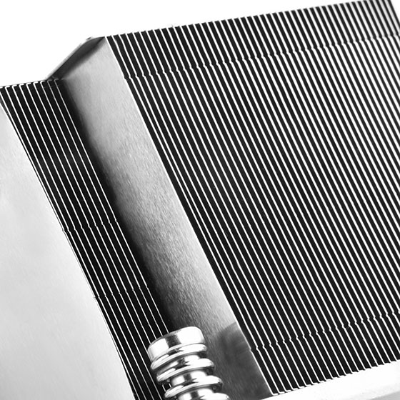 Close up view of skived aluminum heatsink fins